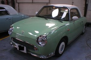 left hand drive nissan figaro for sale USA emerald green LHD Figaro
