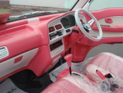 pink and white interior and drivers view