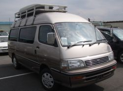 roof rack on toyota hiace campervan in japan leaving for a UK port