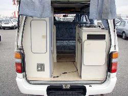 rear view with door open hiace campervan